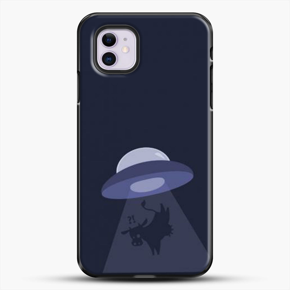 Cow And Ufo iPhone 11 Case, Black Plastic Case | JoeYellow.com