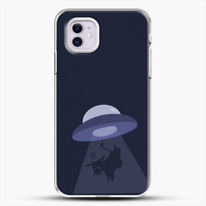 Cow And Ufo iPhone 11 Case, White Plastic Case | JoeYellow.com