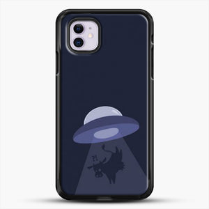 Cow And Ufo iPhone 11 Case, Black Rubber Case | JoeYellow.com