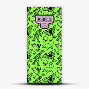 Cryptid Pattern Black On Green Samsung Galaxy Note 9 Case