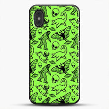 Load image into Gallery viewer, Cryptid Pattern Black On Green iPhone XS Max Case