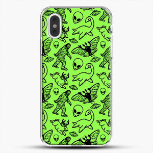 Cryptid Pattern Black On Green iPhone XS Max Case