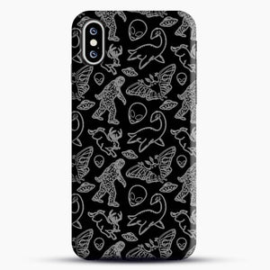 Cryptid Pattern Lines White iPhone XS Max Case