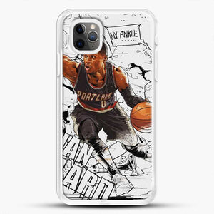 Damian Lillard Ankle Break Action iPhone 11 Pro Max Case, White Rubber Case | JoeYellow.com