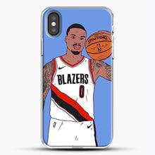 Load image into Gallery viewer, Damian Lillard Basketball Art iPhone X Case, White Plastic Case | JoeYellow.com