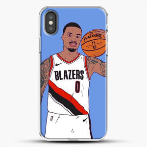 Damian Lillard Basketball Art iPhone X Case, White Plastic Case | JoeYellow.com
