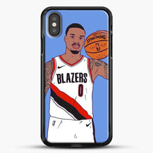 Load image into Gallery viewer, Damian Lillard Basketball Art iPhone X Case, Black Rubber Case | JoeYellow.com