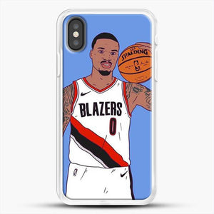 Damian Lillard Basketball Art iPhone X Case, White Rubber Case | JoeYellow.com