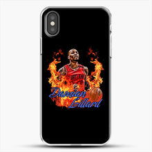 Load image into Gallery viewer, Damian Lillard Fire iPhone X Case, White Plastic Case | JoeYellow.com
