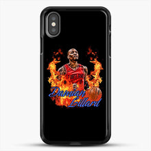 Load image into Gallery viewer, Damian Lillard Fire iPhone X Case, Black Rubber Case | JoeYellow.com