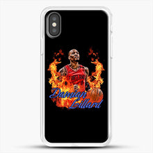 Load image into Gallery viewer, Damian Lillard Fire iPhone X Case, White Rubber Case | JoeYellow.com
