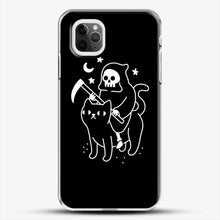 Load image into Gallery viewer, Death Rides A Black Cat iPhone 11 Pro Max Case, White Plastic Case | JoeYellow.com