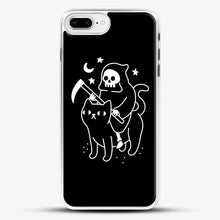 Load image into Gallery viewer, Death Rides A Black Cat iPhone 8 Plus Case, White Rubber Case | JoeYellow.com