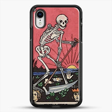 Load image into Gallery viewer, Death Tarot iPhone XR Case, Black Rubber Case | JoeYellow.com