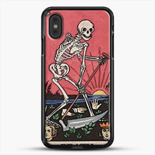 Load image into Gallery viewer, Death Tarot iPhone XS Max Case, Black Rubber Case | JoeYellow.com
