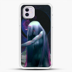Devil Anime Purple Eyes iPhone 11 Case, White Rubber Case | JoeYellow.com