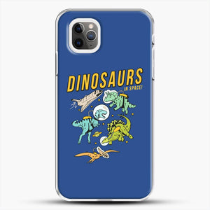 Dinosaurs In Space Dark Blue Background iPhone 11 Pro Max Case
