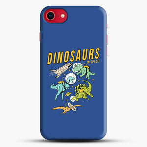 Dinosaurs In Space Dark Blue Background iPhone 8 Case