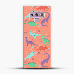 Dinosaurs In Space Peach Background Samsung Galaxy Note 9 Case