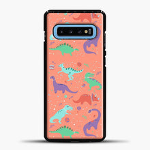 Load image into Gallery viewer, Dinosaurs In Space Peach Background Samsung Galaxy S10 Case
