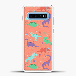 Dinosaurs In Space Peach Background Samsung Galaxy S10 Case