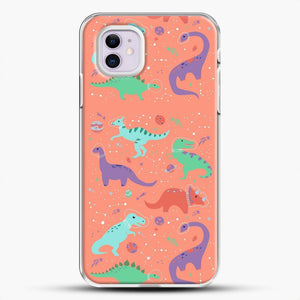 Dinosaurs In Space Peach Background iPhone 11 Case