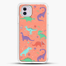 Load image into Gallery viewer, Dinosaurs In Space Peach Background iPhone 11 Case