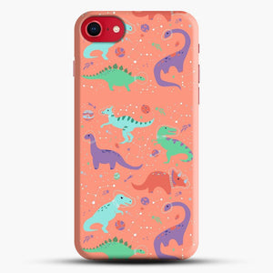 Dinosaurs In Space Peach Background iPhone 7 Case