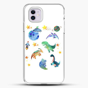 Dinosaurs In Space Watercolor Image iPhone 11 Case