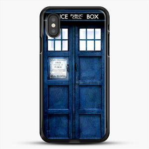 Doctor Who Tardis iPhone XS Case, Black Rubber Case | JoeYellow.com