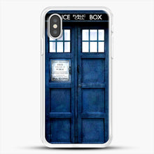 Load image into Gallery viewer, Doctor Who Tardis iPhone XS Case, White Rubber Case | JoeYellow.com