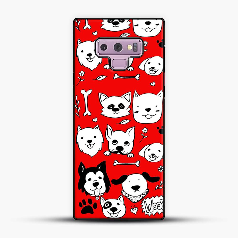Doggy Doodle Red Background Samsung Galaxy Note 9 Case
