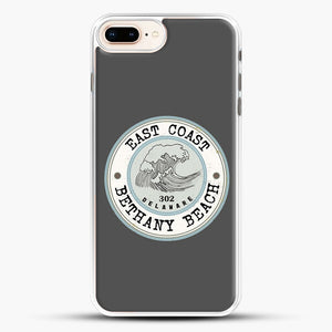 East Coast Bethany Beach Delaware Blue And Grey iPhone 8 Plus Case, White Rubber Case | JoeYellow.com