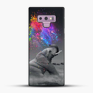 Elephant Color Explosion Bursts Of Color Samsung Galaxy Note 9 Case, Black Plastic Case | JoeYellow.com