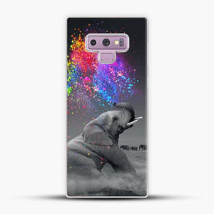 Elephant Color Explosion Bursts Of Color Samsung Galaxy Note 9 Case, White Plastic Case | JoeYellow.com