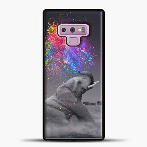 Elephant Color Explosion Bursts Of Color Samsung Galaxy Note 9 Case, Black Rubber Case | JoeYellow.com