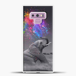 Elephant Color Explosion Bursts Of Color Samsung Galaxy Note 9 Case, White Rubber Case | JoeYellow.com