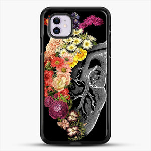 Flower Heart Spring iPhone 11 Case, Black Rubber Case | JoeYellow.com