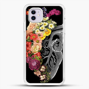 Flower Heart Spring iPhone 11 Case, White Rubber Case | JoeYellow.com