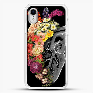 Flower Heart Spring iPhone XR Case, White Rubber Case | JoeYellow.com