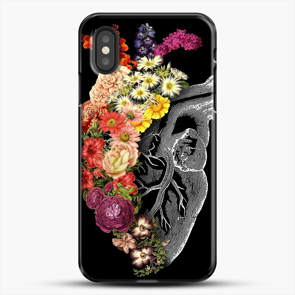Flower Heart Spring iPhone XS Case, Black Plastic Case | JoeYellow.com