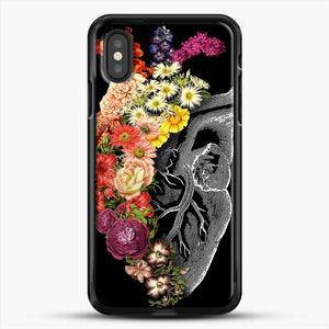 Flower Heart Spring iPhone XS Case, Black Rubber Case | JoeYellow.com