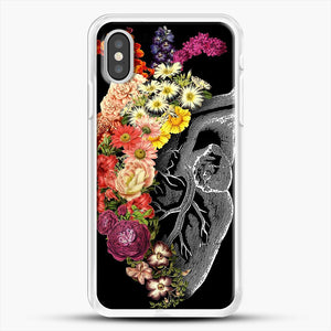 Flower Heart Spring iPhone XS Case, White Rubber Case | JoeYellow.com
