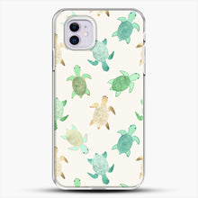 Load image into Gallery viewer, Gilded Jade And Mint Turtles iPhone 11 Case, White Plastic Case | JoeYellow.com