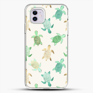 Gilded Jade And Mint Turtles iPhone 11 Case, White Plastic Case | JoeYellow.com