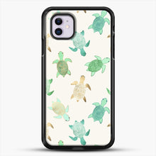 Load image into Gallery viewer, Gilded Jade And Mint Turtles iPhone 11 Case, Black Rubber Case | JoeYellow.com