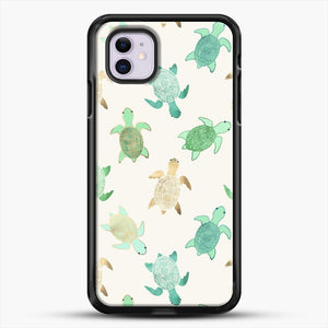 Gilded Jade And Mint Turtles iPhone 11 Case, Black Rubber Case | JoeYellow.com