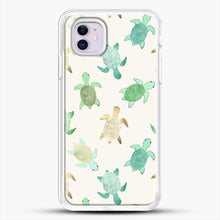Load image into Gallery viewer, Gilded Jade And Mint Turtles iPhone 11 Case, White Rubber Case | JoeYellow.com
