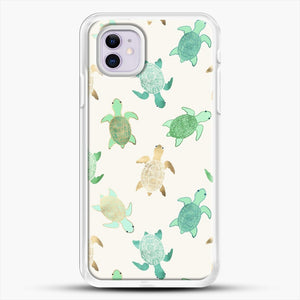 Gilded Jade And Mint Turtles iPhone 11 Case, White Rubber Case | JoeYellow.com
