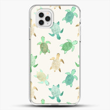 Load image into Gallery viewer, Gilded Jade And Mint Turtles iPhone 11 Pro Case, White Plastic Case | JoeYellow.com